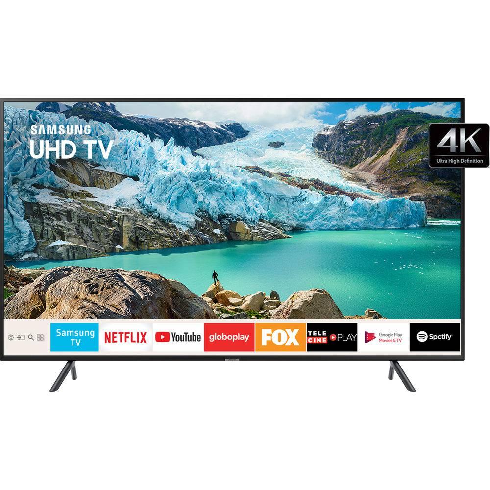 "Smart TV LED 55"" Samsung RU7100 UN55RU7100GXZD Ultra HD 4K HDMI USB Wi-Fi Conversor Digital - 1"