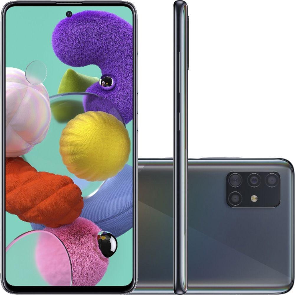 """Smartphone Samsung Galaxy A51 Preto 128GB, Tela Infinita de 6.5"""", Câmera Traseira Quádrupla, Leitor Digital na Tela, Android e Processador Octa-Core"""