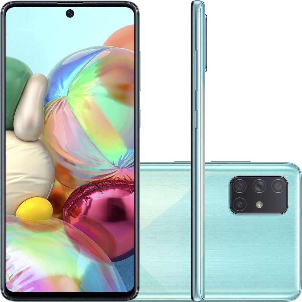 """Smartphone Samsung Galaxy A71 Azul 128GB, Tela Infinita de 6.7"""", Câmera Traseira Quádrupla, Leitor Digital na Tela, 6GB RAM e Processador Octa-Core"""