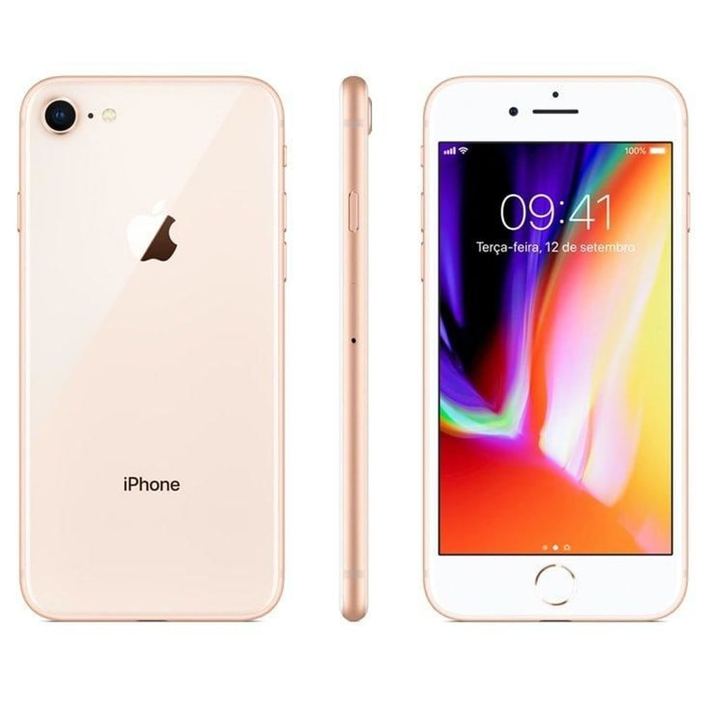 """iPhone 8 Apple com 128GB, Tela Retina HD de 4,7"""", iOS 11, Câmera de 12 MP, Resistente à Água, Wi-Fi, 4G LTE e NFC - Dourado - 2"""