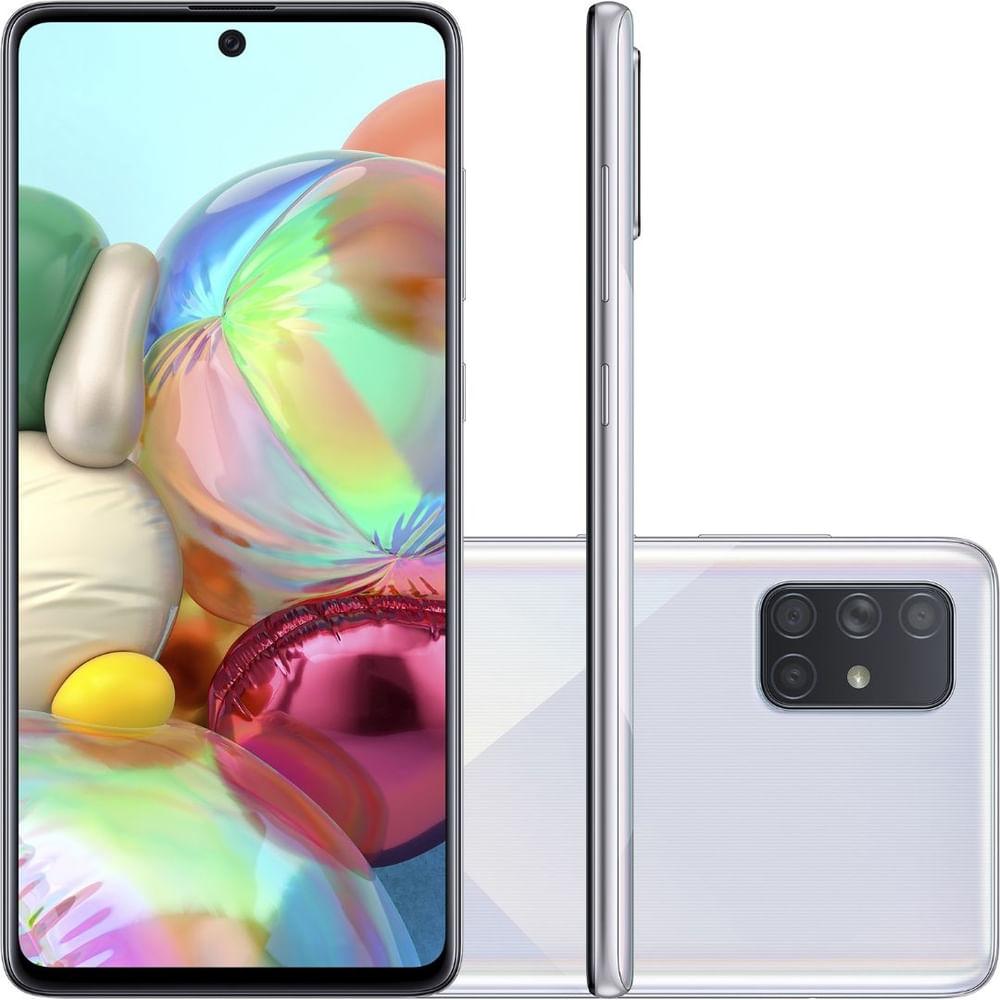 """Smartphone Samsung Galaxy A71 Prata 128GB, Tela Infinita de 6.7"""", Câmera Traseira Quádrupla, Leitor Digital na Tela, 6GB RAM e Processador Octa-Core"""