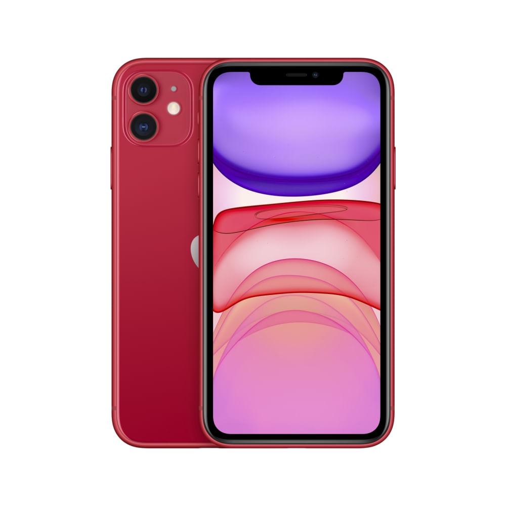 """iPhone 11 Apple com 256GB, Tela Retina HD de 6,1"""", iOS 13, Dupla Câmera Traseira de 12 MP, Resistente à Água e Bateria de Longa Duração -Vermelho"""