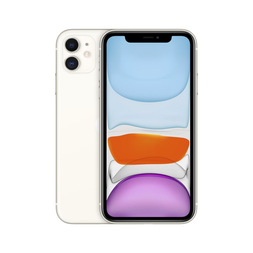 """iPhone 11 Apple com 256GB, Tela Retina HD de 6,1"""", iOS 13, Dupla Câmera Traseira de 12 MP, Resistente à Água e Bateria de Longa Duração -Branco"""