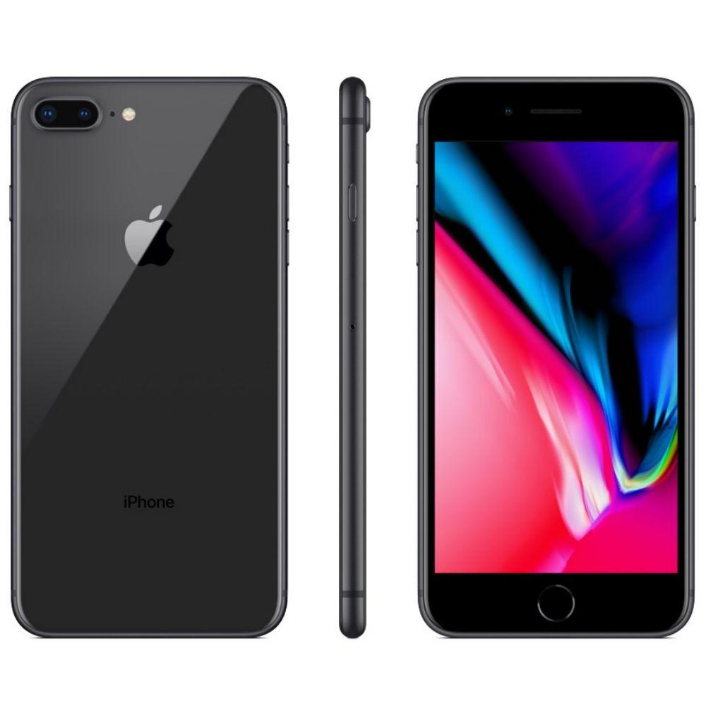 """iPhone 8 Apple Plus com 64GB, Tela Retina HD de 5,5"""", iOS 12, Dupla Câmera Traseira, Resistente à Água, Wi-Fi, 4G LTE e NFC – Cinza-Espacial"""