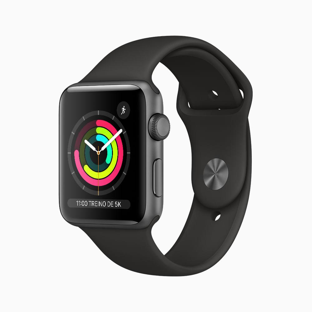 Apple Watch Series 3 GPS - 42mm - Caixa cinza-espacial de alumínio com pulseira esportiva preta - 0