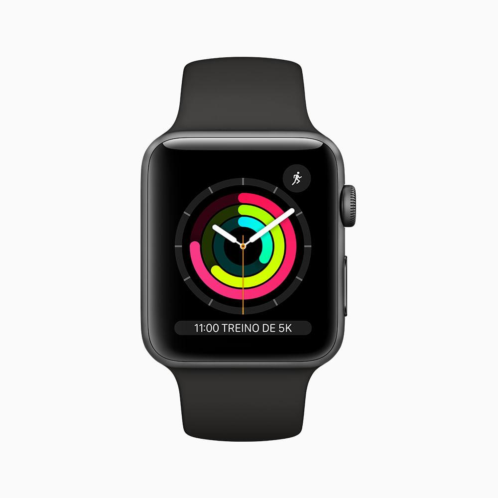 Apple Watch Series 3 GPS - 42mm - Caixa cinza-espacial de alumínio com pulseira esportiva preta - 1