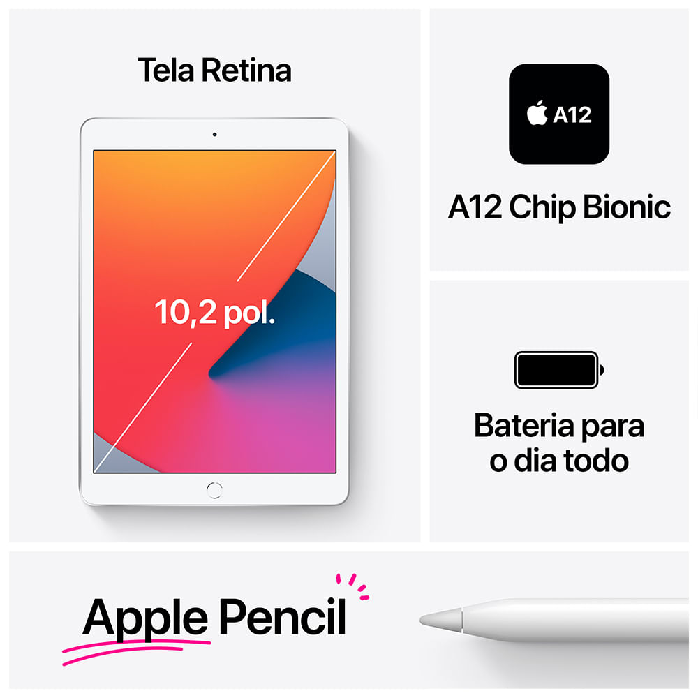 iPad 10,2'' 8ª geração Wi-Fi 32GB - Prateado - 6