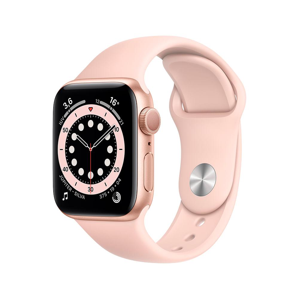 Apple Watch Series 6 (GPS) 40mm caixa dourada de alumínio com pulseira esportiva areia-rosa - 0