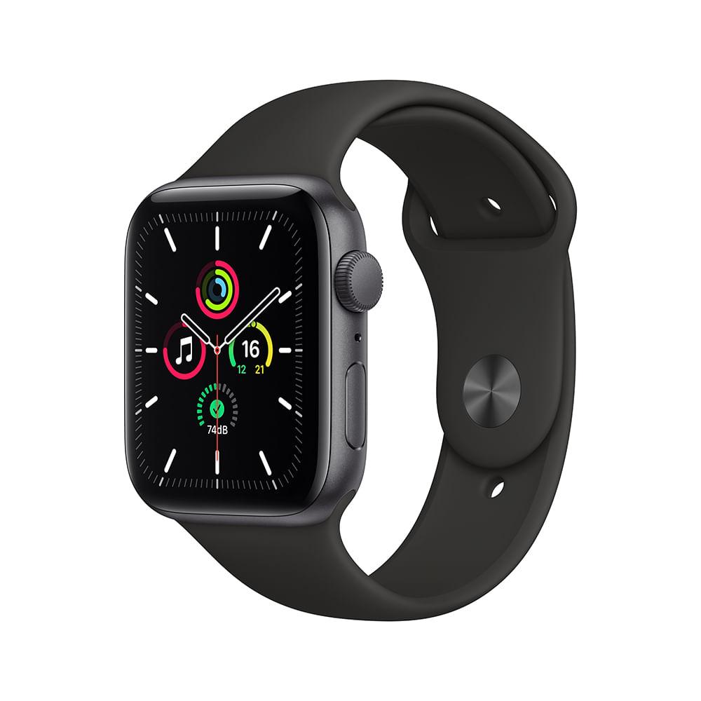 Apple Watch SE 44mm GPS - Caixa cinza-espacial e pulseira esportiva preto - 0