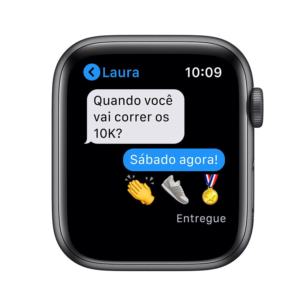 Apple Watch SE 44mm GPS - Caixa cinza-espacial e pulseira esportiva preto - 5