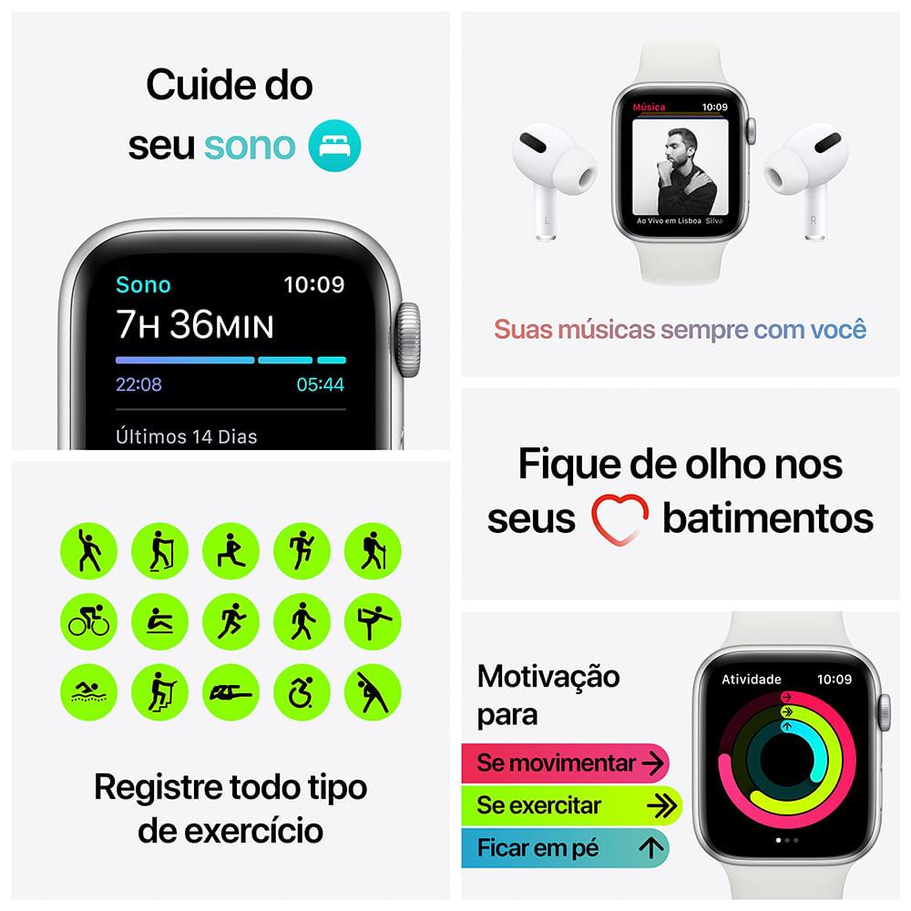 Apple Watch SE 44mm GPS - Caixa cinza-espacial e pulseira esportiva preto - 6